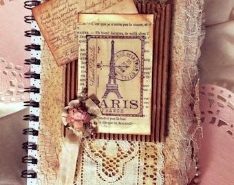 PARISIAN Summer Vacation Journal, Shabby Chic Journal,DIY Journal, Birthday Gift Journal,