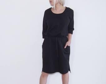 minimalist japanese style cotton LBD little black dress shift dress