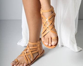 Natural Leather Sandals, Woven Sandals, Brown Leather Sandals, Women's EU 40, Women's EU 38, Criss Cross Sandals,Casual Sandals for Everyday