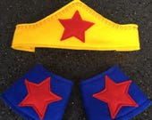 Superhero Tiara and Power Cuffs  Wonder Woman costume  superhero dress up  blue cuffs yellow tiara