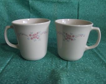 Vintage English Breakfast Pattern Corning Corelle coffee mugs or cups 1970's