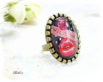 "ring adjustable vintage ""fashion victim"" style * BA119"