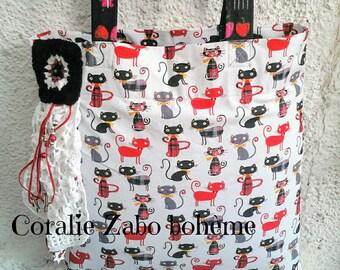 Sac cabas tissu chats-sac cabas tissu toile de coton-Tote bag fait-main-tote bag coton tissu-sac cabas fait-main tissu-coralie-zabo-boheme