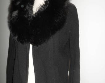 jack feit new york black jacket with fur collar  texture material