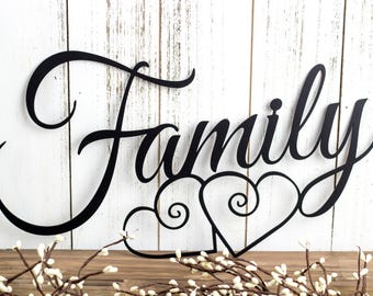 Family Metal Wall Art | Hearts | Family Sign | Metal Sign | Family Decor |