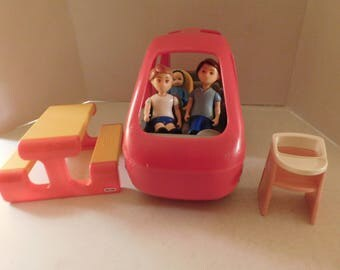 vintage LITTLE TIKES Doll House Lot Van Dad Boy Baby & More