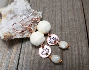 Lotus earrings - yoga earrings - lotus flower earrings - yoga jewelry - rose gold lotus - lotus flower - yoga lotus earrings - yoga gifts