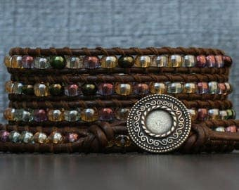 READY TO SHIP wrap bracelet- soft shades pastel mixed color glass beads on dark brown leather- multicolor - boho gypsy bohemian beach yoga