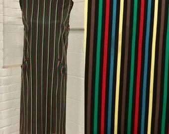 70s rainbow pinstripe vertical stripes pockets sleeveless hippie colorful shift vintage dress size medium