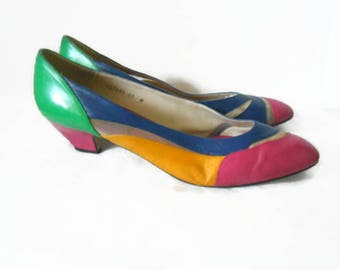 1980s 90s Vintage Proxy Heels Color Block Shoes Hot Pink Electric Blue Yellow Green Leather  10 M Plus Size