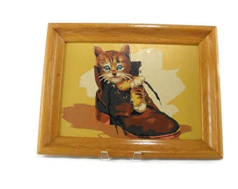 Vintage Paint by Numbers * Framed Art * Kitten in Old Boot
