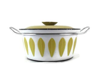 """Vintage 2 Quart Cathrineholm Yellow Lotus Covered 8-5/8"""" Casserole * Dutch Oven * Stock Pot"""