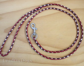 Braided Lace Dog Show Leash in Red, Silver & Black Kangaroo Leather Lace with Small Clip - Lead On Jeddah