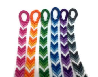 color shades arrow friendship bracelets, chevron friendship, string bracelet, friendship gift, bracelet under 20, gift for her