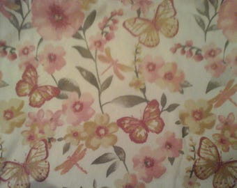 double towel extra wide shades of pink gray flowers butterflies dragonflies crocheted pink top Pattern one way