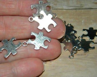 NEW 15Pcs Tibetan Silver puzzle pieces jigsaw Pendant For Bracelet 18x14mm