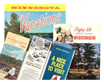 1960's Minnesota + Wisconsin travel brochures | maps • vacation guides • souvenir travel paper lot