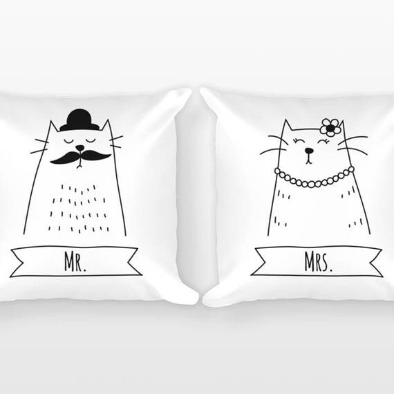 Mr and Mrs Pillows Cat Couple Pillows Throw Pillows, Unique Wedding Gift for Couples Gift Set of 2 Pillows Engagement Gift Anniversary Gift