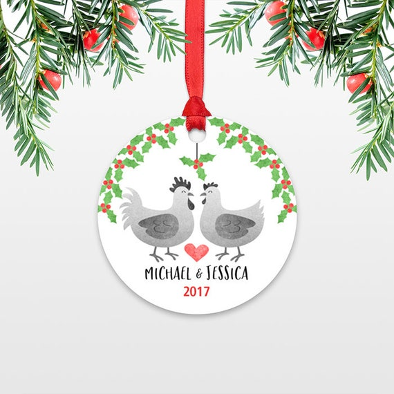 Personalized Christmas Ornaments Rooster Chicken Couple Engaged Christmas Ornament Engagement Ornament Wedding Ornament Christmas Decoration