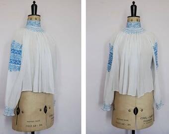 Vintage 1930s embroidered Austrian blouse - 30s Peasant blouse - 30s Hungarian top - Peasant top - Folk blouse - Gypsy blouse - Boho hippie