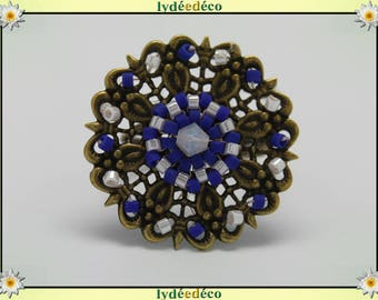 Charming retro vintage Adjustable ring bronze white blue glass beads