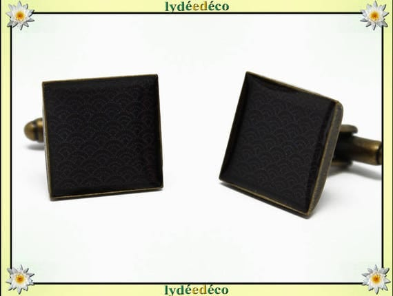 2 retro suit cuff links resin: seigaiha waves Japanese gray black brass 16mm
