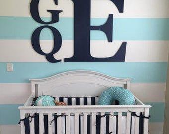 Incroyable Large Stacked Wood Monogram, 3 Letter Monogram, Nursery Decor, Boy Nursery  Decor,