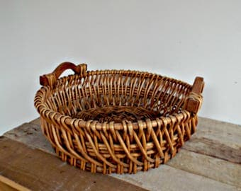 antique FRENCH WICKER BASKET - vintage french big woven basket picking gathering basket french traditional basketry cottage country live