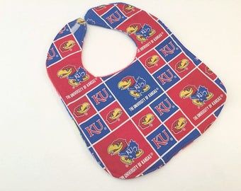KU Bib, Kansas University Bib, Jayhawk Bib, University of Kansas, Baby Bib, College Sports
