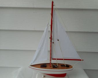 17 inch wooden sailboat / beach decor / nautical decor
