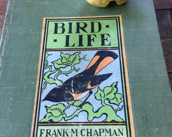 Bird Life, Classic Book, Frank Chapman, Color photos, Egg Color, Plate, Pressed Flowers, Inked Inscription, Gift Display, Cottage Decor