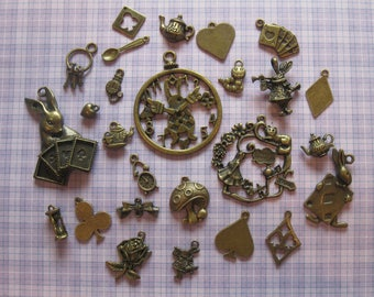 NEW! Alice In Wonderland Theme Bronze Charm Set (26PCS)
