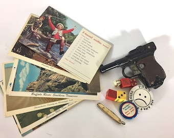 Vintage Odds and Ends Lot, Ideal Toy Gun, Solingen Knife, Postcards, Political Pins, Dice, 1960s- 70s