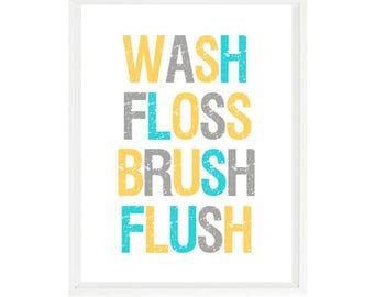 yellow and gray bathroom. Bathroom Wall Art  Wash Floss Brush Flush Decor Turquoise Yellow gray bathroom Etsy