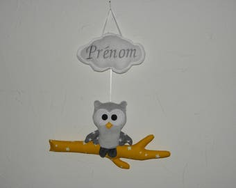 OWL, OWL decor yellow and gray personalized with name embroidered on a cloud, birth gift