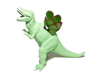 Up-cycled Mint Green T-rex Dinosaur Planter