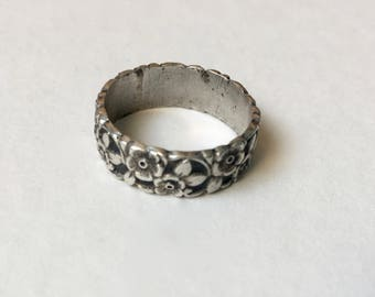 vintage floral uncas ring in sterling, size 6.5
