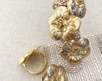 Camellia ring Chanel Inspired Ring Gold ring Adjustable gold ring