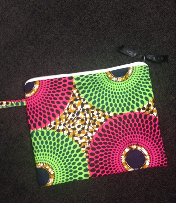 Pink and Green Ankara Clutch