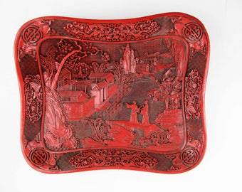 A Large, Carved Cinnabar-colored Lacquer Tray - Deeply Carved - Multiple Techniques - Great Collectible - Bats - Prunus - Signed