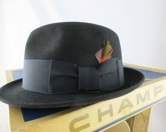 Never Worn 'Champ Croydon' - Black Coffee Color - Size 7 - Master-felted Champ Hat in Original Box - Fedora/Trilby Hat - Black Kasmir Finish