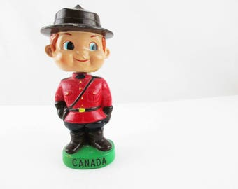RCMP Bobblehead - Fun 1930s or 1940s  - Made in Japan - Painted Ceramic - 'Canada' Souvenir - Mountie - Red Uniform Mountie