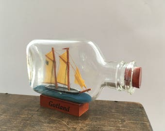 Vintage ship in a bottle Gotland souvenir ship model in a bottle Little Ship Nautical decor gift Collectors piece