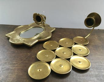 Vintage brass wall sconces Brass wall sconces Oval ornated brass wall candle holder