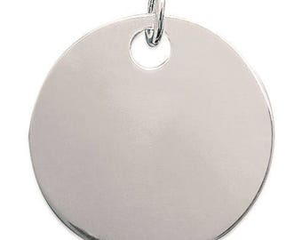 Pendant engraved medal 35 mm thick flat round Silver 925/000 with or without engraving