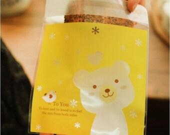5 Pocket bag cellophane bags bear bird yellow heart