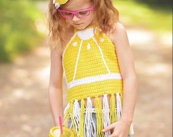 Lemon Crop top/ Lemon shirt/ Girls crop top/ Fruit Crop Top/ Summer Crop top/ Crocheted crop top/