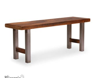 Industrial Bench - Dining Table Bench - Entryway Bench - Wood and Metal Bench - Entry Bench - Hand Crafted Quality