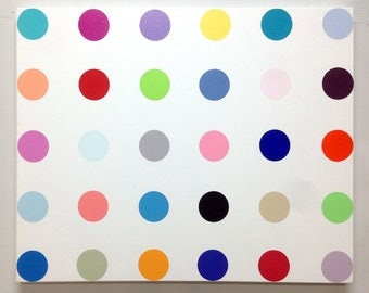 24x30 dot painting in the style of Damien Hirst