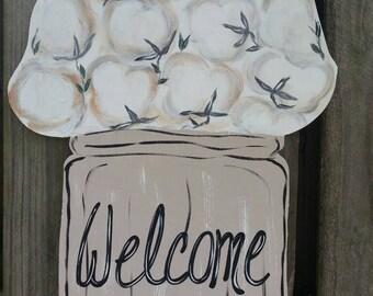 Mason Jar Cotton Boll Bouquet Door Hanger Wood Door Decor Sign Welcome